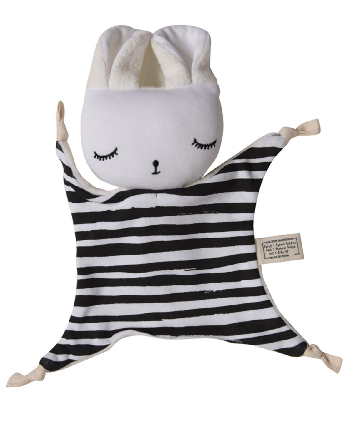 Little wee gallery play organic cuddle bunny in stripes
