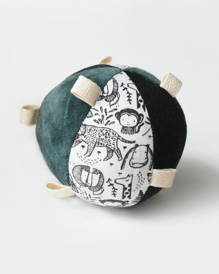 Little wee gallery baby accessories taggy ball with rattle - wild