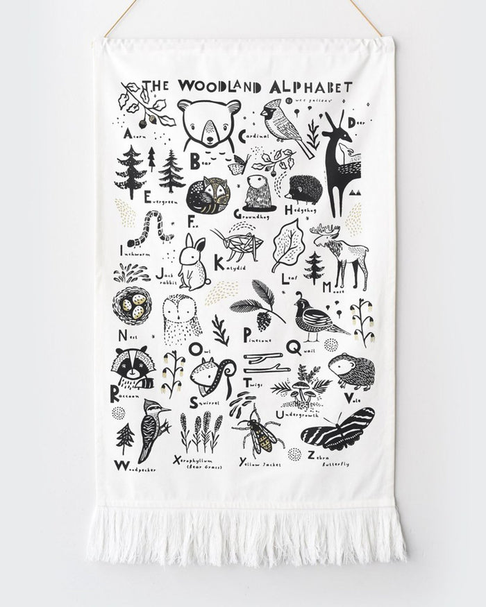 Little wee gallery room woodland alphabet printed tapestry