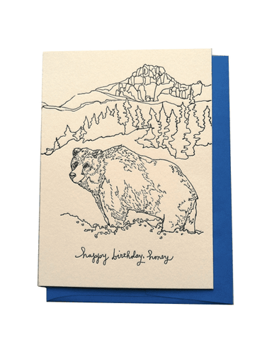 "Little wolf + wren press paper+party ""Happy Birthday, Honey"" Letterpress Card"