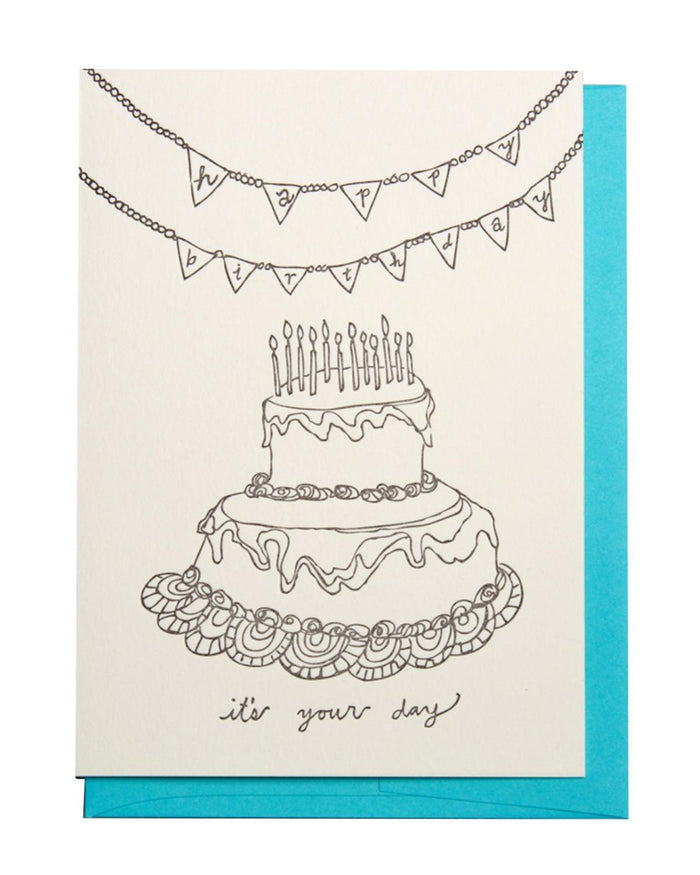 "Little wolf + wren press paper+party ""It's Your Day"" Birthday Card"