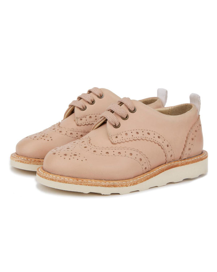 Little young soles girl 23 brando brogue shoe in nude pink