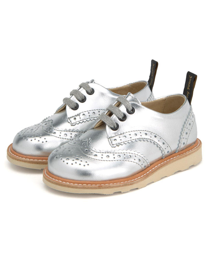 Little young soles girl 23 brando brogue shoe in silver
