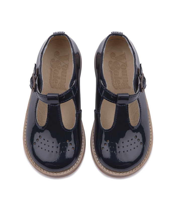 Little young soles girl 23 dottie t-bar shoe in navy patent