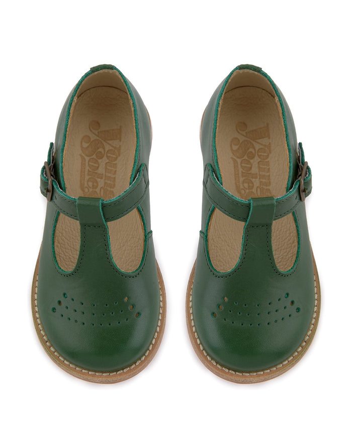 Little young soles girl 23 dottie t-bar shoe in pea green