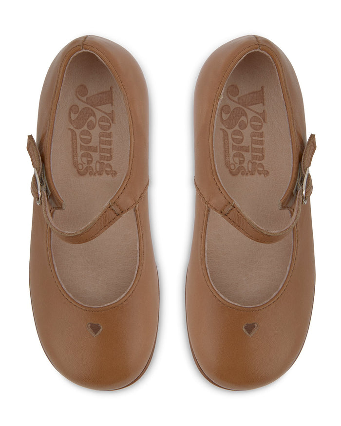 Little young soles girl 23 maggie mary jane shoe in tan
