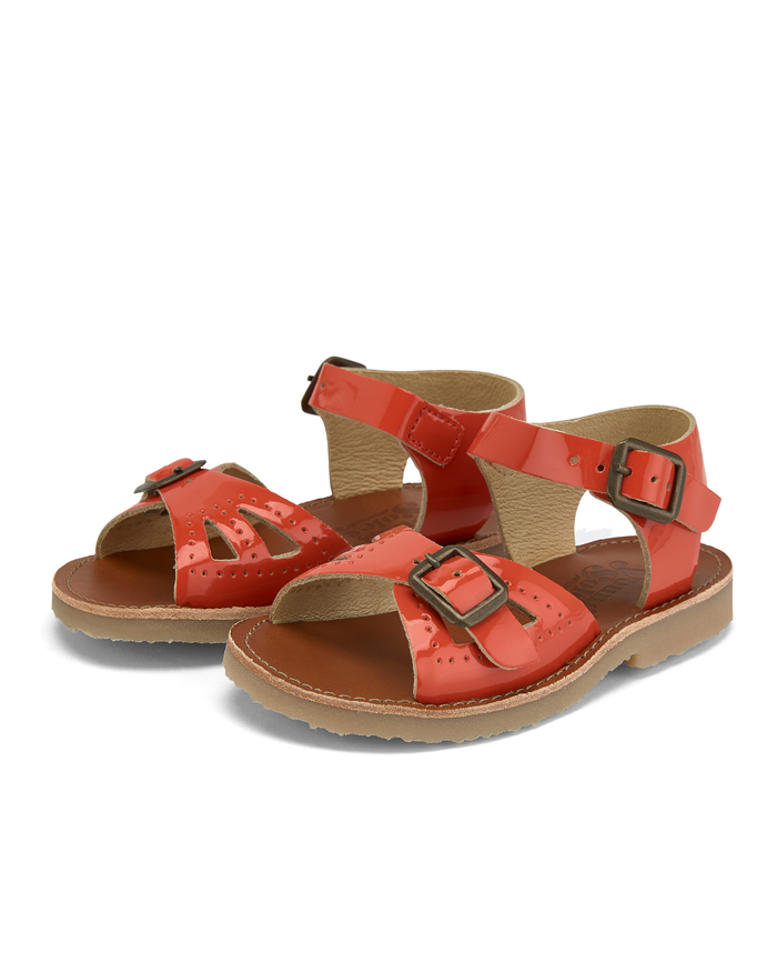 Little young soles girl pearl sandal in patent clementine