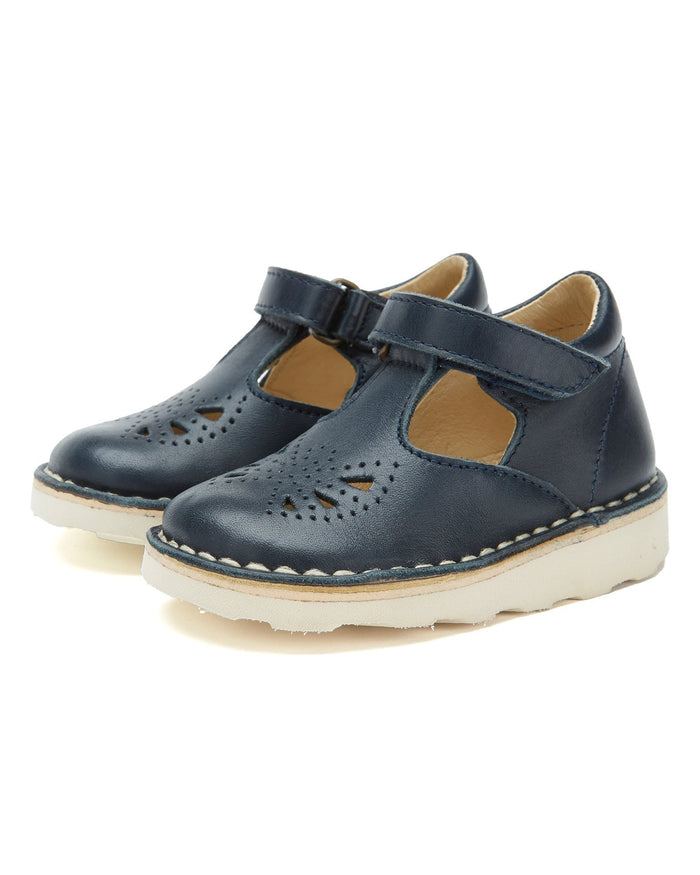 Little Young Soles baby girl poppy t-bar in dark navy