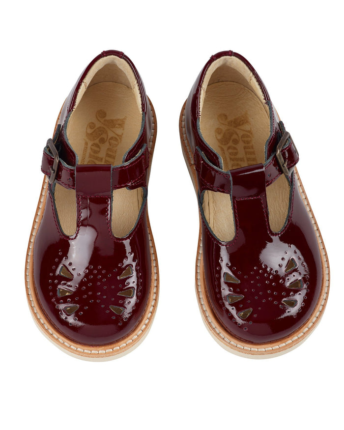 Little Young Soles girl rosie patent leather t-bar in cherry