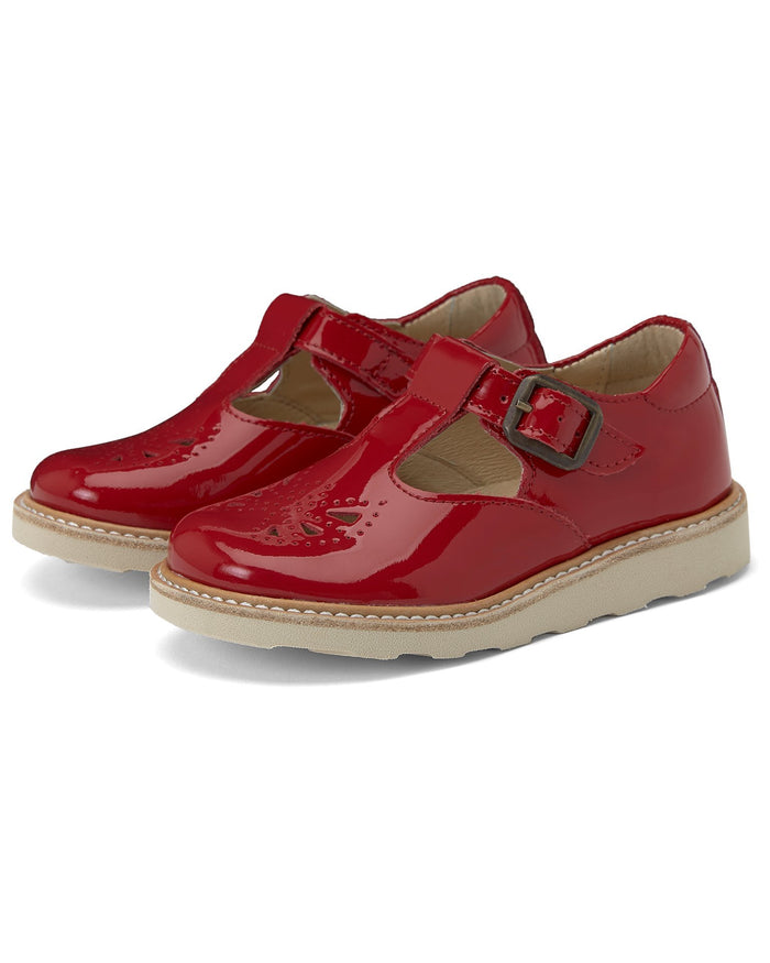 Little Young Soles girl rosie patent leather t-bar in london red