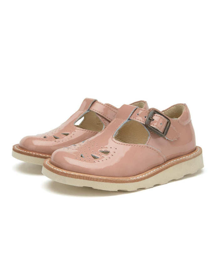 Little young soles girl 23 rosie t-bar shoe in blush pink patent