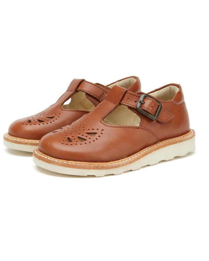 Little young soles girl 23 rosie t-bar shoe in chestnut