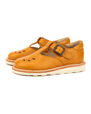Little young soles girl 23 rosie t-bar shoe in mustard