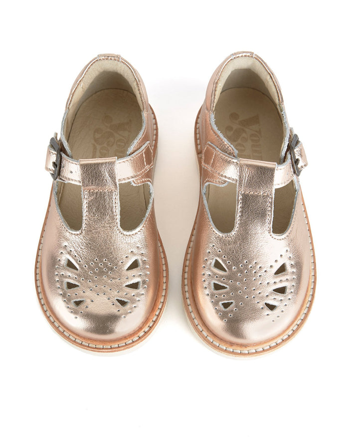 Little young soles girl 23 rosie t-bar shoe in rose gold
