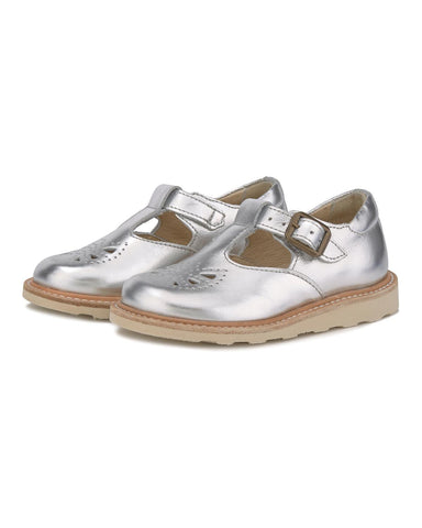 Little young soles girl 23 rosie t-bar shoe in silver
