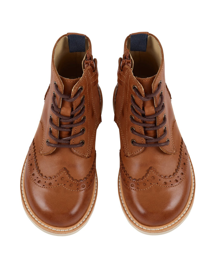 Little young soles boy 24 sideny brogue boot in tan