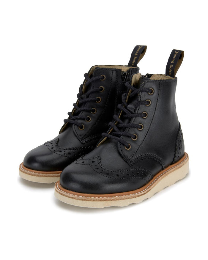 Little young soles boy 24 sidney brogue boot in black