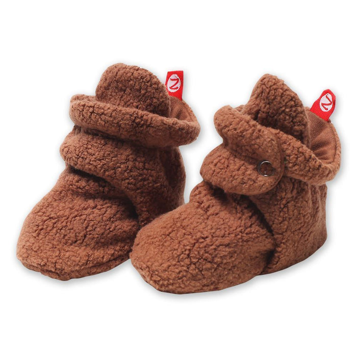 Little zutano baby accessories 3m cozie fleece booties in chocolate