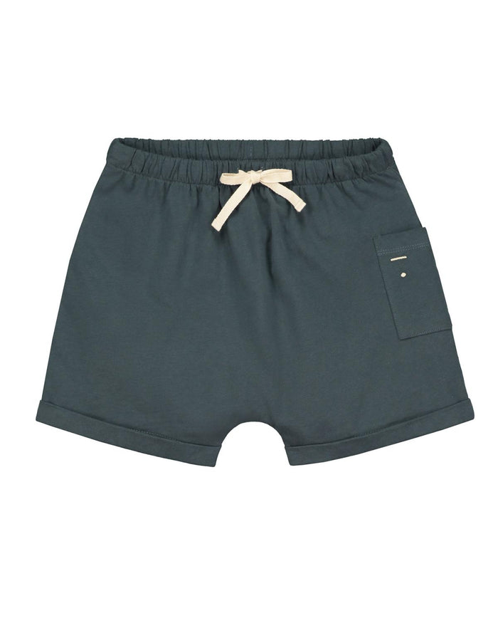 one pocket shorts in blue grey
