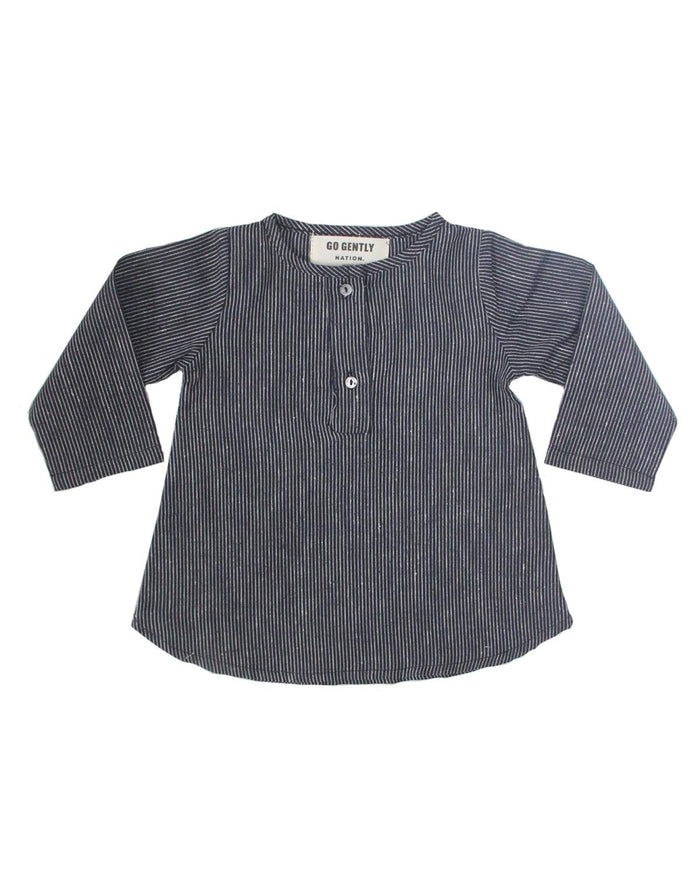 placket top in navy mini stripe