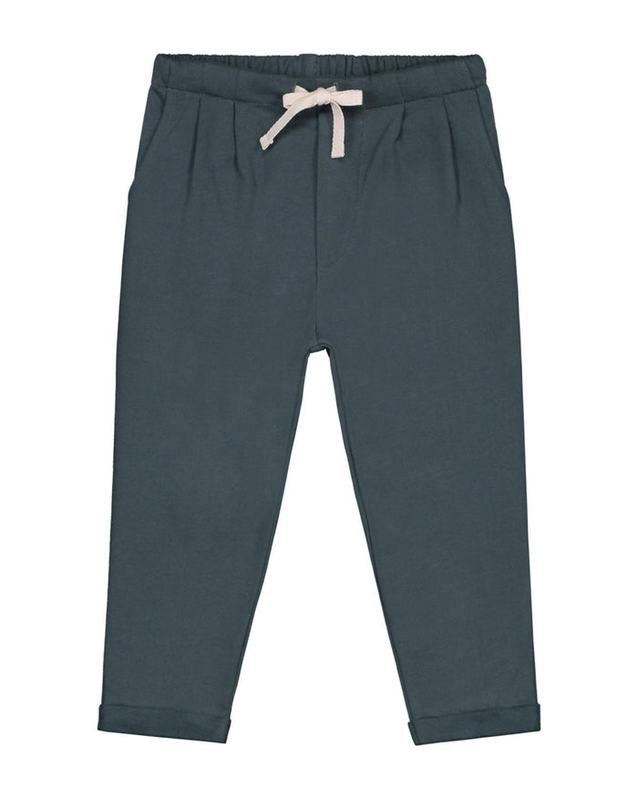 pleated trousers in blue grey