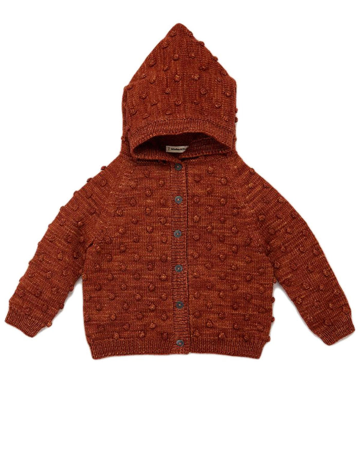 popcorn cardigan in terracotta