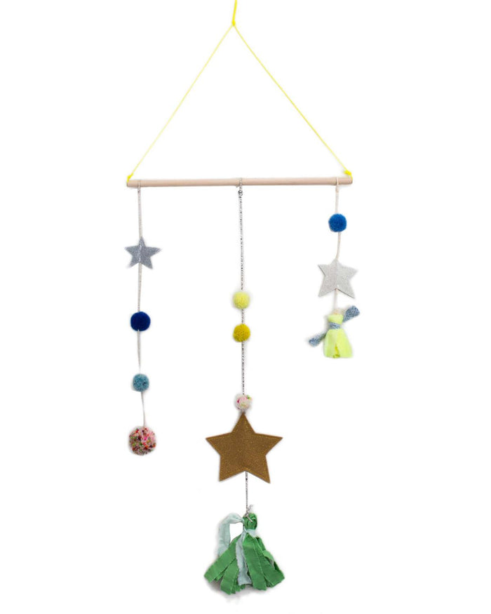 star tassel mobile in multi green