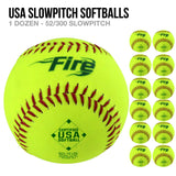 Fire USA Slowpitch Softballs - 1 Dozen