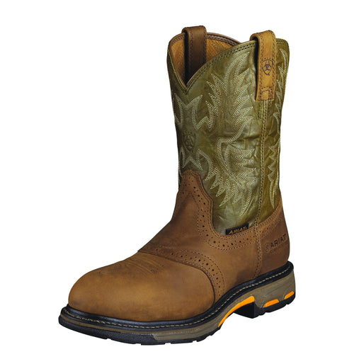 Ariat Men's WorkHog Pull-on Composite Toe Boot - Aged Bark/Army Green - French's Boots