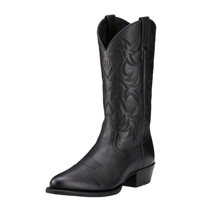 Ariat Men's Heritage Western R Toe Boot - Black Deertan - French's Boots