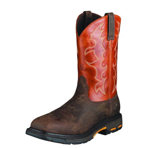Ariat Men's WorkHog Steel Toe Boot - Dark Earth/Brick - French's Boots