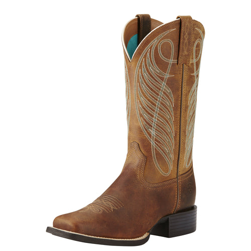 Ariat Women's Round Up Wide Square Toe Boot - Powder Brown - French's Boots