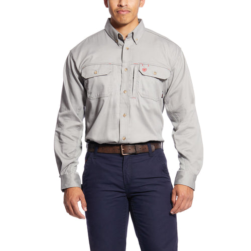 Ariat Men's FR Solid Vent Work Shirt - Silver Fox