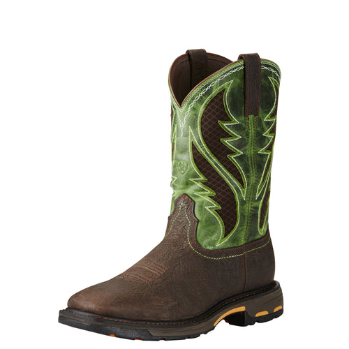 Ariat Men's WorkHog VentTek Work Boot - Bruin Brown/Green