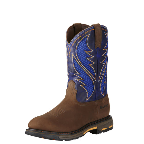 Ariat Men's WorkHog VentTek Boot - Oily Distressed Brown/Cobalt - French's Boots