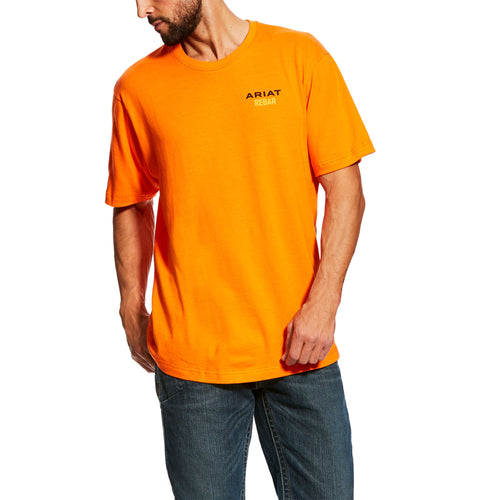 Ariat Men's Rebar Cotton Strong Logo T-Shirt - Safety Orange