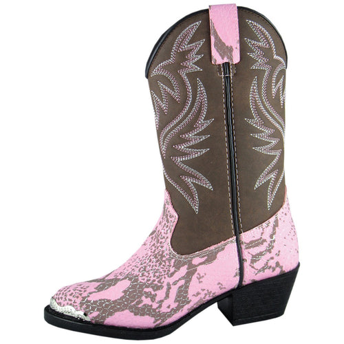 Smoky Mountain Girl's Children's Pink Snake Print Western Boot