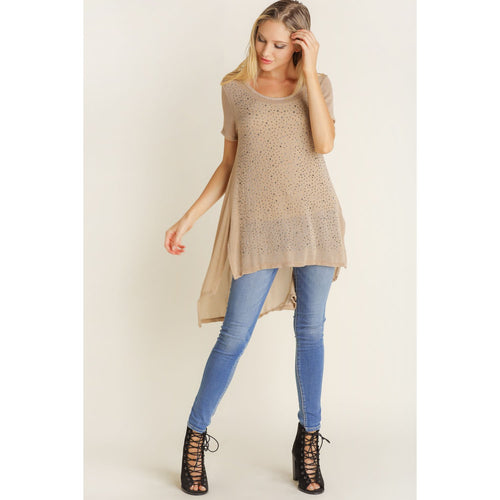 Vocal Women's Short Sleeve Top with Long Tail - Taupe