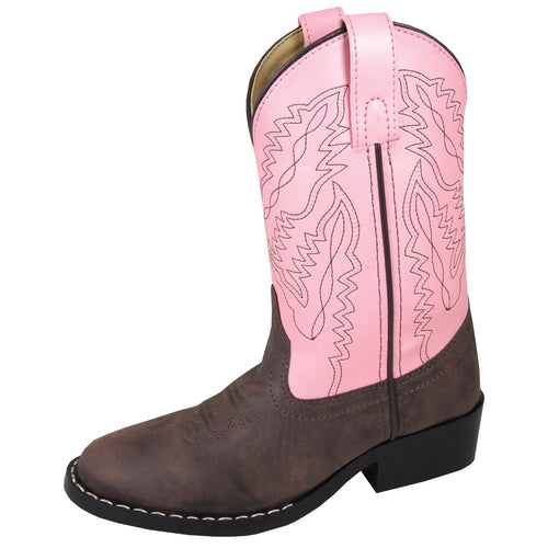 Smoky Mountain Girl's Youth Monterey Brown/Pink Cowboy Boot