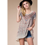 Vocal Women's Short Sleeve Top with Stones