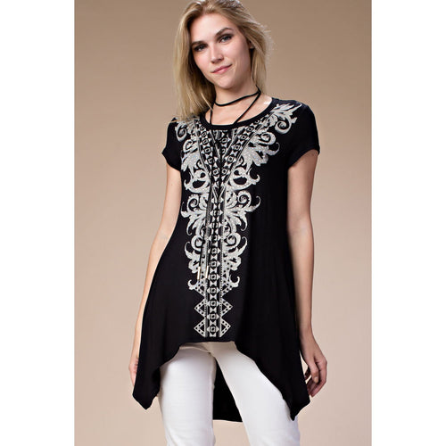 Vocal Women's Short Sleeve Tunic With Stone Print