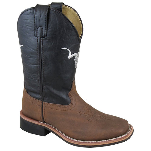 Smoky Mountain Children's The Bull Brown Distress/Black Cowboy Boot