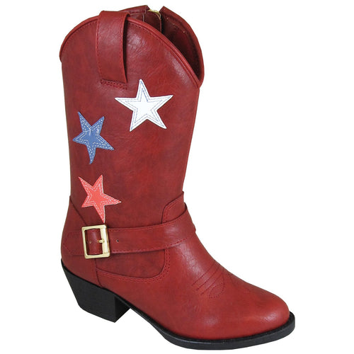 Smoky Mountain Girl's Children's Star Bright Red Cowboy Riding Boot