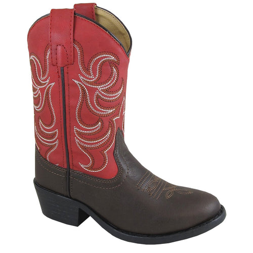 Smoky Mountain Toddler Monterey Dark Brown/Red Cowboy Boot