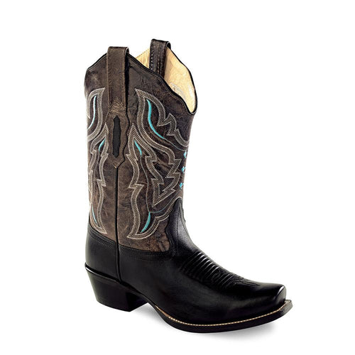 Old West Women's Medium Square Toe Fashion Wear Boots - Black /Charcoal Grey Crackle