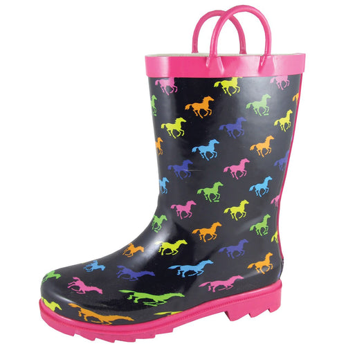 Smoky Mountain Girl's Toddler Black Rubber Boot With Multi Color Ponies