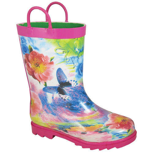 Smoky Mountain Toddler Pink Rubber Boot With Butterflies And Flowers