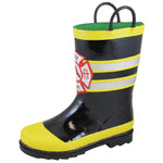 Smoky Mountain Toddler Fireman Black Waterproof Rubber Rain Boot