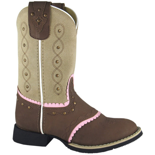 Smoky Mountain Girl's Children's Brown/Beige Western Boot With Pink Trim