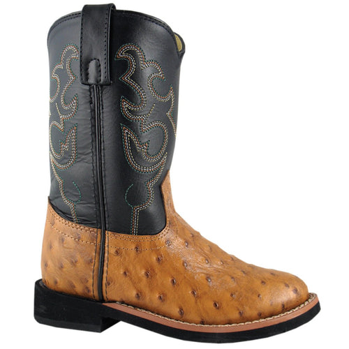 Smoky Mountain Youth Cognac Ostrich/Black. Crepe Boot